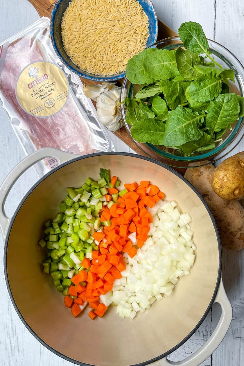Ingredients for Minestrone Soup with Orzo and Kale
