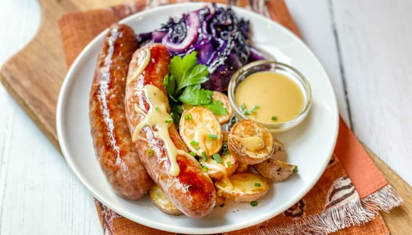 Sheet Pan German Bratwurst, Potatoes and Cabbage